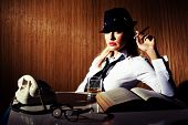 pic of cigar  - Retro styled businesswoman smoking cigar and drinking whiskey - JPG