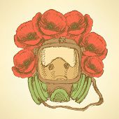 picture of respiratory  - Sketch respiratory mask with poppies in vintage style vector - JPG