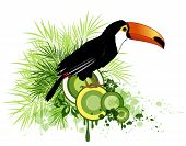 picture of tropical birds  - Summer decorative vector background with tropical flowers green palm and bird - JPG