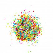 picture of sprinkling  - Colorful candy sprinkles isolated on white background - JPG