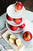picture of serving tray  - Tasty ripe apples on serving tray on table close up - JPG