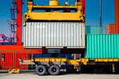 stock photo of containers  - Cargo containers at harbor - JPG