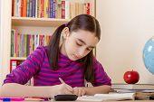 picture of homework  - Schoolgirl doing her math homework at desk - JPG