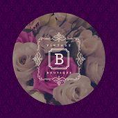 image of flower shop  - Monogram logo template with flourishes calligraphic elegant ornament - JPG
