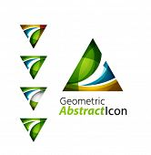foto of universal sign  - Set of abstract geometric company logo triangle - JPG