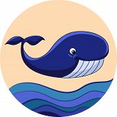 stock photo of whale-tail  - Cartoon fun whale on background with waves - JPG