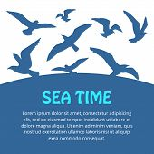 stock photo of flock seagulls  - Watercolor silhouettes of seagulls flying over the sea - JPG