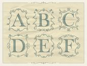 picture of letter b  - Vintage calligraphic letters in monogram retro frames - JPG