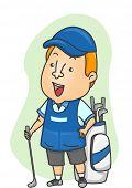 stock photo of golf bag  - Illustration of a Caddy Standing Beside a Golf Bag - JPG