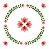 pic of scandinavian  - Scandinavian folk style flower in round floral ornamented frame - JPG