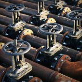 picture of valves  - Oil and gas pipe line and valves - JPG