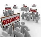 stock photo of higher power  - Religion word in signs and people gathering around as separate and divided groups to illustrate different beliefs - JPG