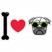 stock photo of pug  - I love pug  with green hipster glasses sticker style - JPG