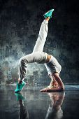 image of  dancer  - Young woman modern dancer in white - JPG