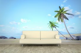 stock photo of mural  - 3d rendering of a sofa in front of a photo wall mural with a palm beach - JPG