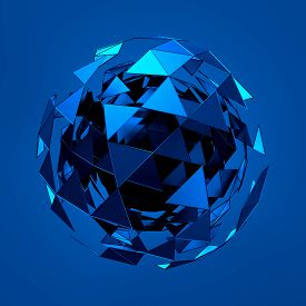 picture of sci-fi  - Abstract 3d rendering of low poly blue sphere with chaotic structure - JPG