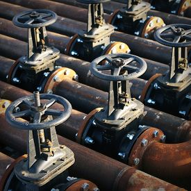 foto of gas-pipes  - Oil and gas pipe line and valves - JPG