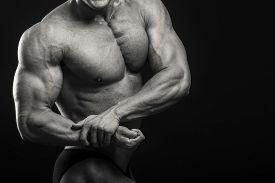 stock photo of bodybuilder  - Muscular man bodybuilder - JPG