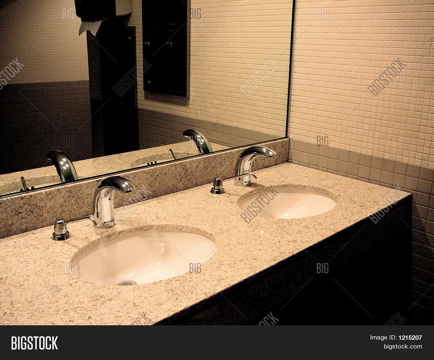 Public Bathroom Sink public restroom with sinks and mirror stock photo & stock images