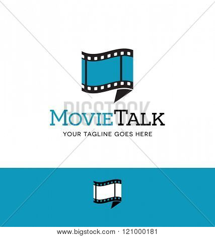 combination film and talk bubble logo for business, group, blog or website