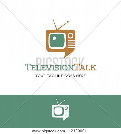 combination retro tv and talk bubble logo for business, group, blog or website
