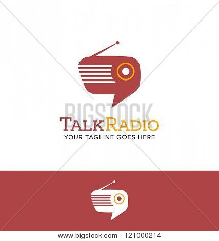 combination retro radio and talk bubble logo for business, group, blog or website