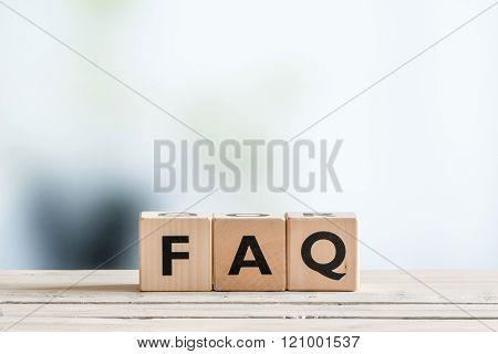 Faq Sign On An Office Table