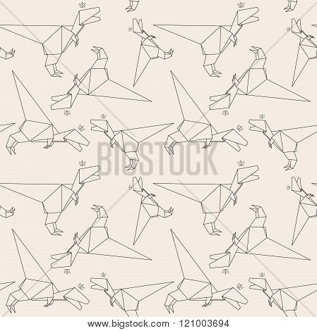 Thin Line Dinosaur. Paper Origami Style. Vector Seamless Pattern. Origami To Make. How To Make Origami. Paper Origami. Origami Easy. Wrapping Paper. Japanese Tradition. Hand Drawing. Paper Dinosaur.