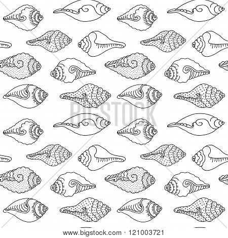 Vector Pattern With Sea Shells. Geometric Wave Background. Stylish Modern Print. Cute Background For Website. Cute Background For Texture. Cute Background For Fabric. Hand Drawn. Sea Shells Print.