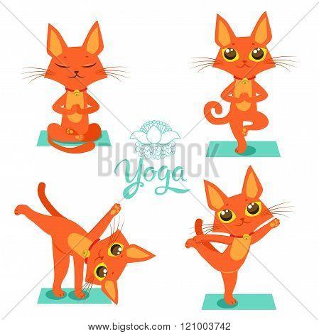 poster of Yoga Cat Pose. Yoga Cat Vector. Yoga Cat Meme. Yoga Cat Images. Yoga Cat Position. Yoga Cat Figurine. Cat Costume. Cat As Toy. Yoga Cat Statue. Yoga Cat Balance. Vector Cat. Cartoon Cat Meditation.
