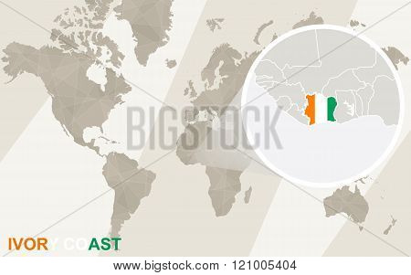 Zoom On Ivory Coast Map And Flag. World Map.