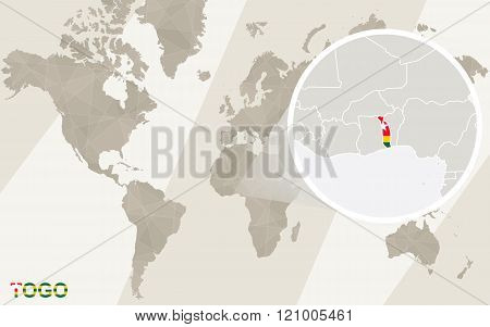 Zoom On Togo Map And Flag. World Map.