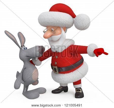 3D Santa Claus And Hare
