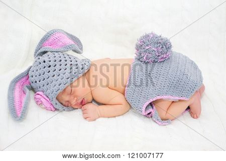 Sleeping Newborn Baby In Easter Rabbit Costume