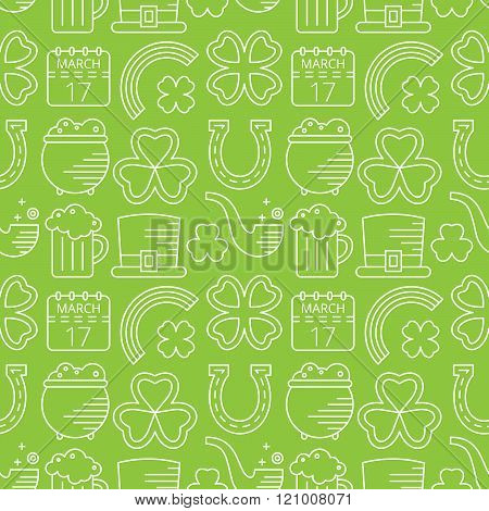 Abstract green seamless line art pattern.