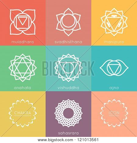 Set of universal colorful chakras icons