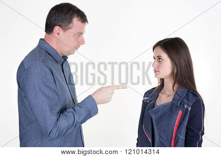 Unhappy Father, Conflict With His Teenager Isolated On White