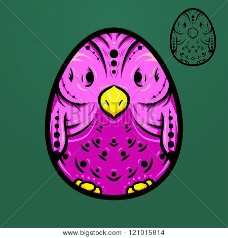 Easter ethnic egg bird