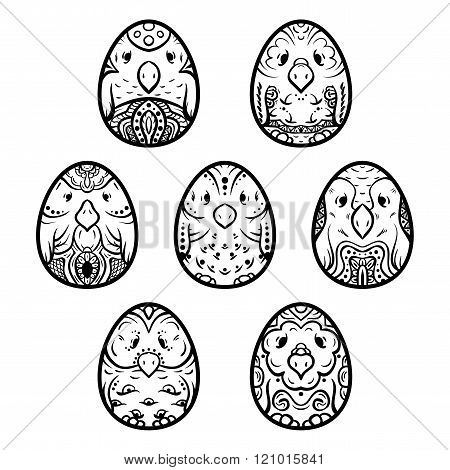 Easter ethnic egg bird set