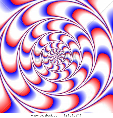 Abstract decorative fractal spiral optic illusion motion red blue white tile