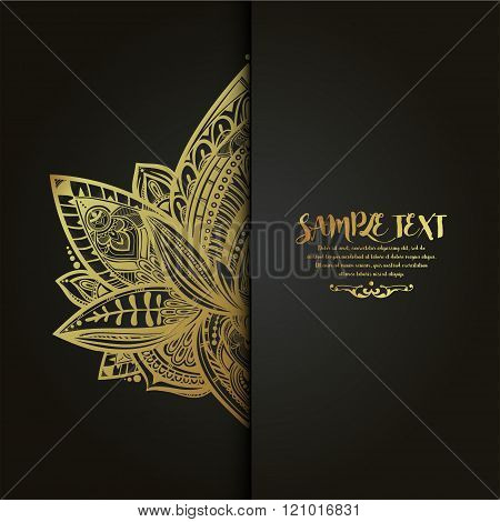Vector ornamental Lotus flower card.