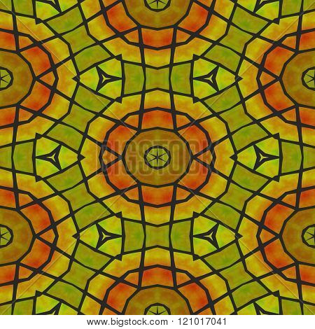 Abstract kaleidoscopic red yellow orange decorative floral stars seamless tile