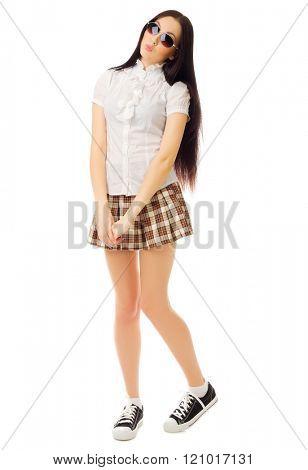 Girl in plaid skirt