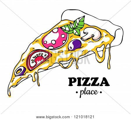Vector Pizza Slice Drawing. Hand Drawn Doodle Pizza Illustration