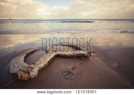 Empty Beach Of Tangier City, Morocco