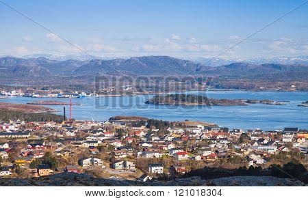 Norwegian Fishing Town Rorvik On Sea Coast