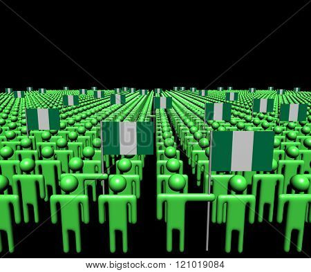 Crowd of abstract people with many Nigerian flags illustration
