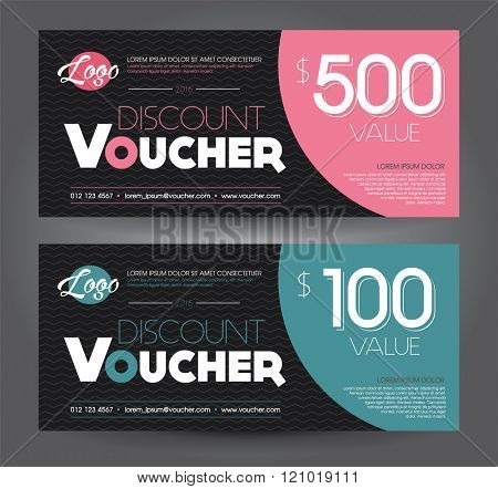 Vector illustration. Discount voucher template with clean and modern pattern