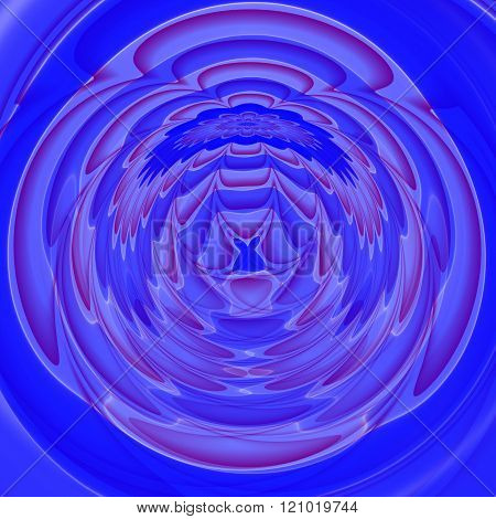 Abstract fantastic blended round decorative blue pattern