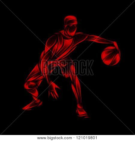 Basketball Player Red  Glow Silhouette On Black